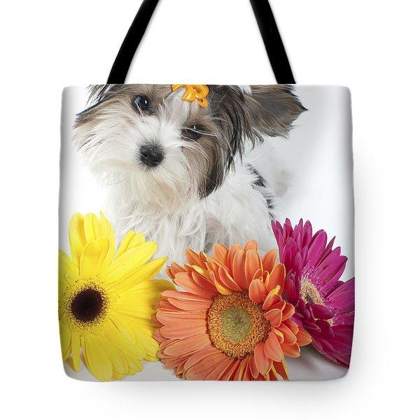 Flower Doggie Tote Bag