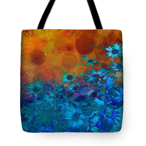 Flower Fantasy In Blue And Orange  Tote Bag by Ann Powell