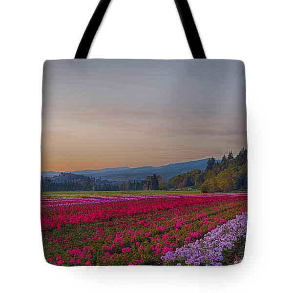 Flower Field At Sunset In A Standard Ratio Tote Bag