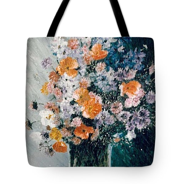 Tote Bag featuring the painting Flower Field by Sorin Apostolescu
