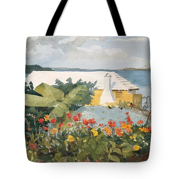 Tote Bag featuring the painting Flower Garden And Bungalow by Celestial Images