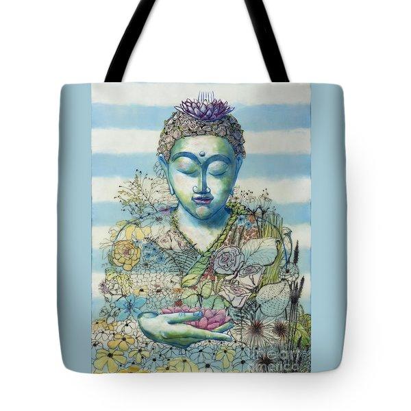Flower Garden Buddha Tote Bag