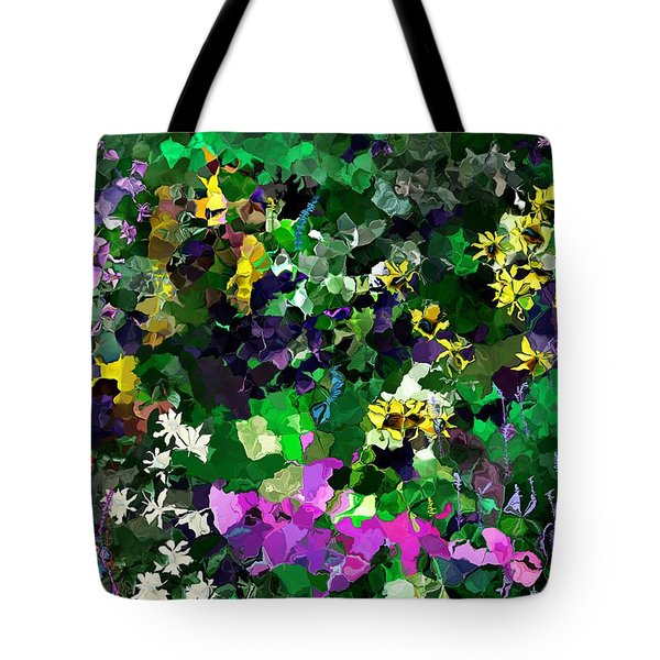 Tote Bag featuring the digital art Flower Garden by David Lane
