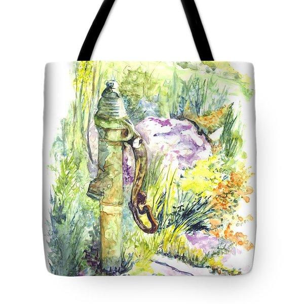 Flower Garden Hand Pump Tote Bag
