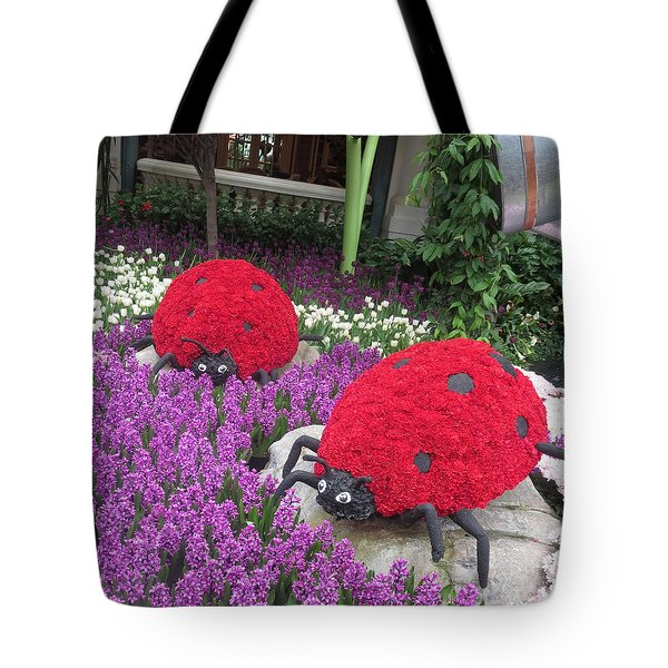Flower Garden Ladybug Purple White I Tote Bag