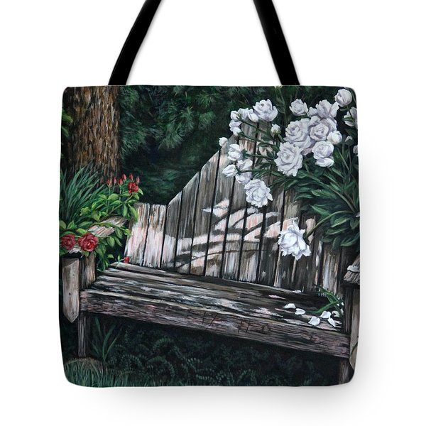 Tote Bag featuring the painting Flower Garden Seat by Penny Birch-Williams