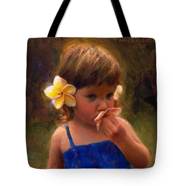 Flower Girl - Tropical Portrait With Plumeria Flowers Tote Bag