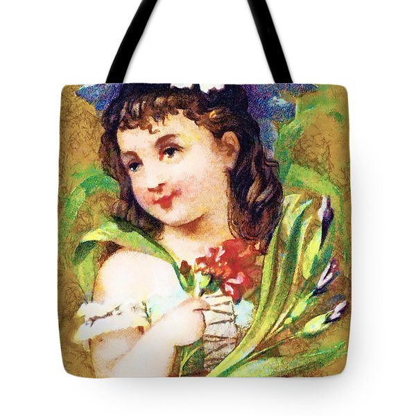Flower Girl Tote Bag by Vintage Trading Cards