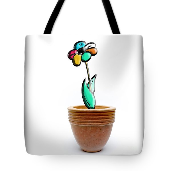 Flower In A Pot. Concept Tote Bag