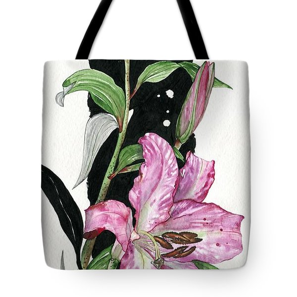 Tote Bag featuring the painting Flower Lily 02 Elena Yakubovich by Elena Yakubovich