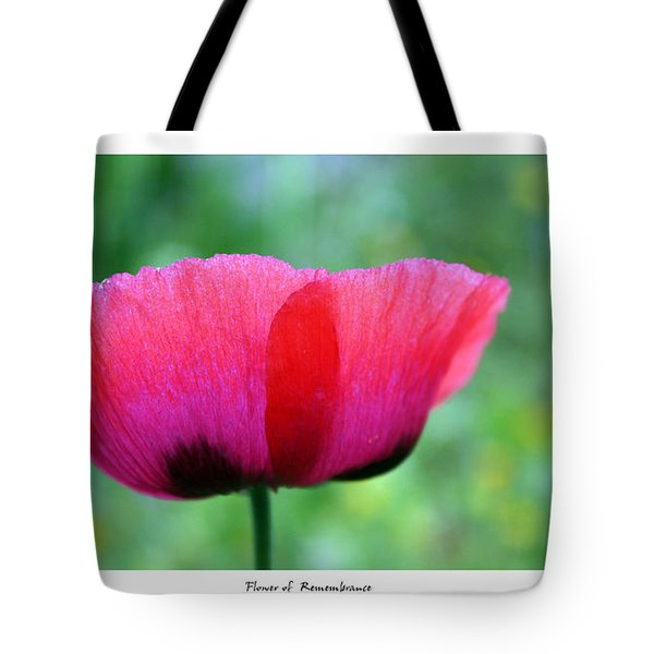 Flower Of Remembrance Tote Bag