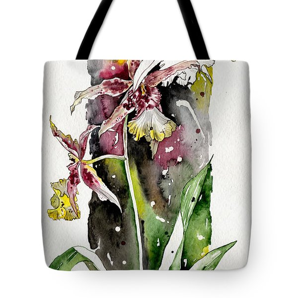 Tote Bag featuring the painting Flower Orchid 03 Elena Yakubovich by Elena Yakubovich