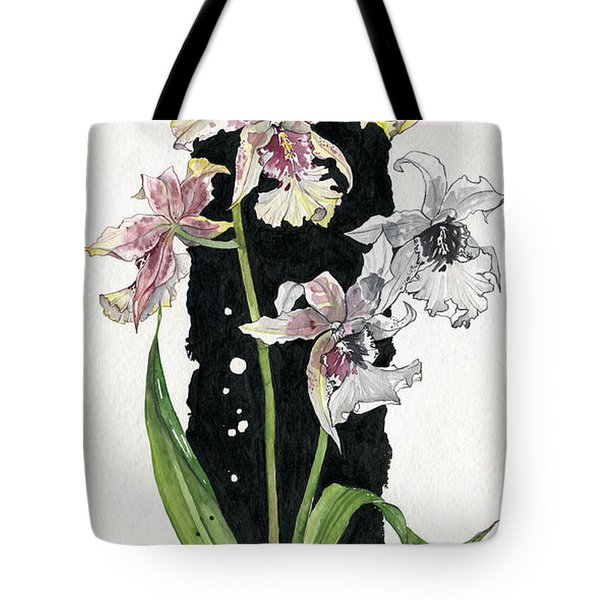 Tote Bag featuring the painting Flower Orchid 06 Elena Yakubovich by Elena Yakubovich