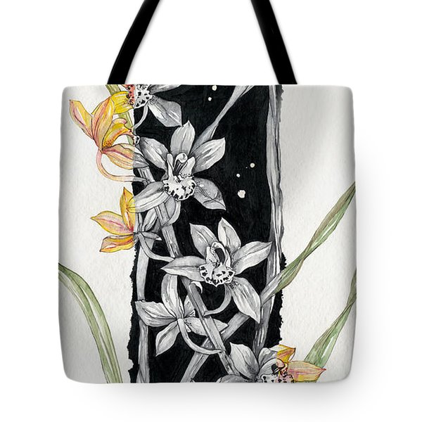 Tote Bag featuring the painting Flower Orchid 07 Elena Yakubovich by Elena Yakubovich