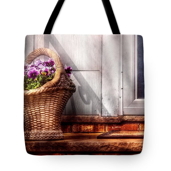 Flower - Pansy - Basket Of Flowers Tote Bag by Mike Savad