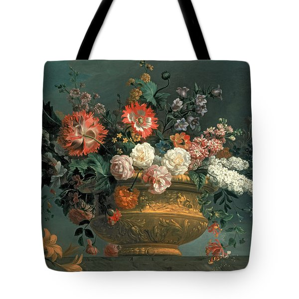 Flower Piece With Parrot Tote Bag