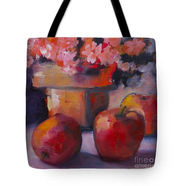 Tote Bag featuring the painting Flower Pot And Apples by Michelle Abrams