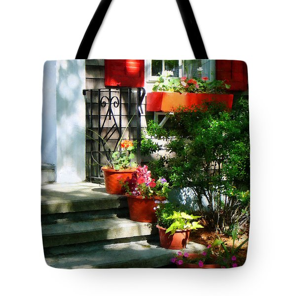 Flower Pots And Red Shutters Tote Bag by Susan Savad