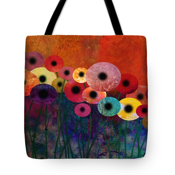Flower Power Five Abstract Art Tote Bag by Ann Powell