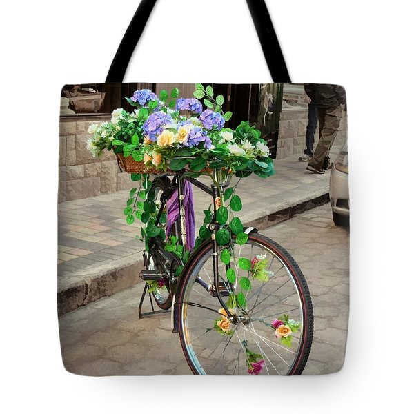 Flower Power Meets Pedal Power  Tote Bag