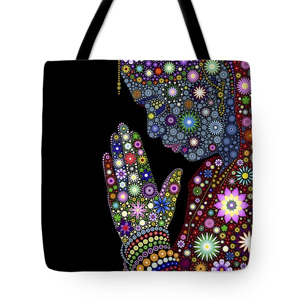 Tote Bag featuring the digital art Flower Prayer Girl by Tim Gainey