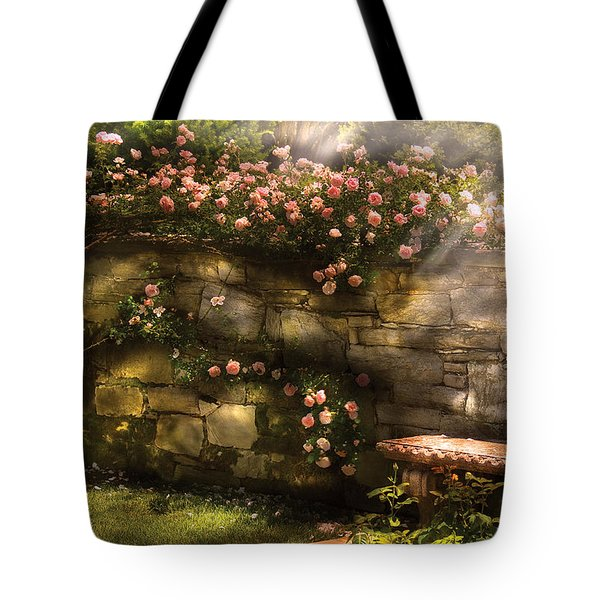 Flower - Rose - In The Rose Garden  Tote Bag by Mike Savad