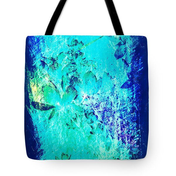 Flower Shadows In Blue Tote Bag