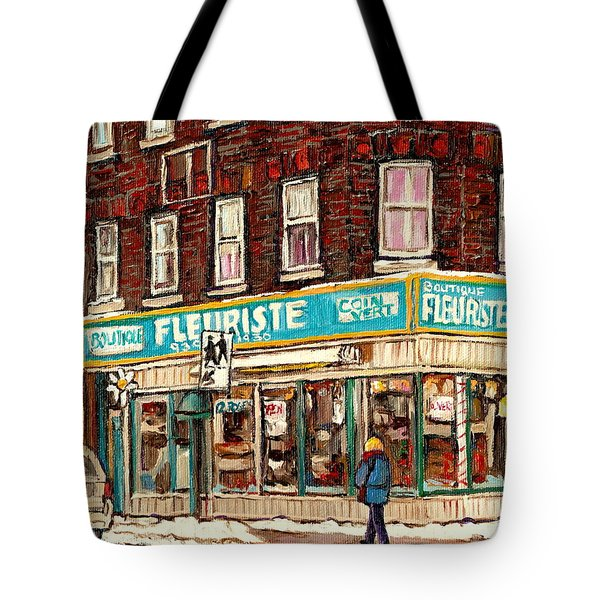 Flower Shop Rue Notre Dame Street Coin Vert Fleuriste Boutique Montreal Winter Stroll Scene Tote Bag by Carole Spandau