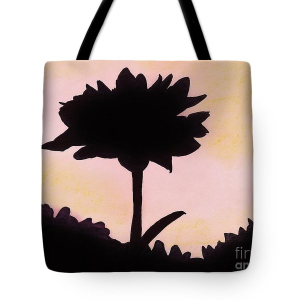 Tote Bag featuring the drawing Flower - Sunrise by D Hackett