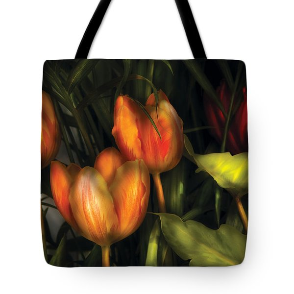 Flower - Tulip -  Orange Irene And Red  Tote Bag by Mike Savad