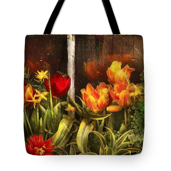 Flower - Tulip - Tulips In A Window Tote Bag by Mike Savad