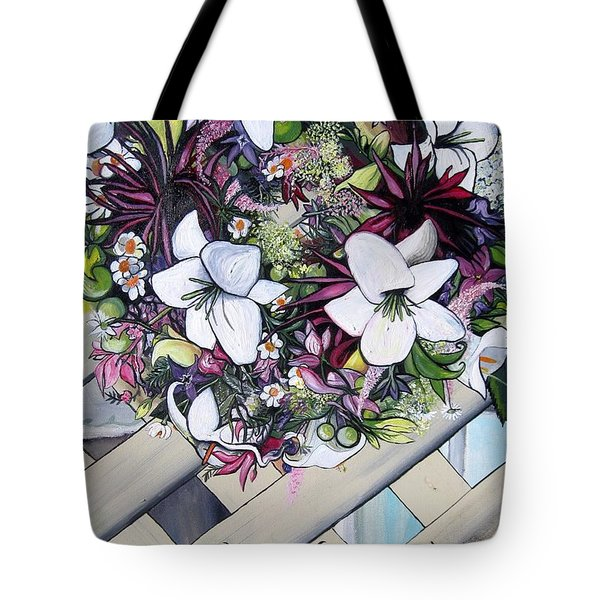 Tote Bag featuring the painting Floral Wreath by Mary Ellen Frazee