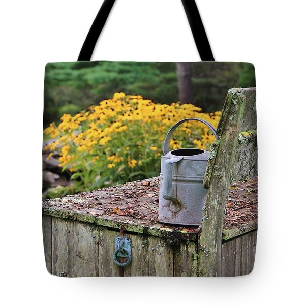 Flowered Bench Tote Bag