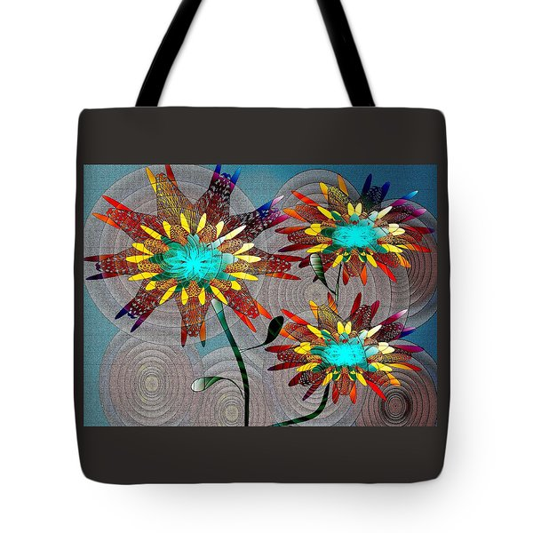 Tote Bag featuring the drawing Flowering Blooms by Iris Gelbart