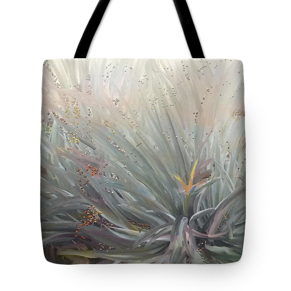 Flowering Bushes In The Fog Tote Bag by Angela A Stanton