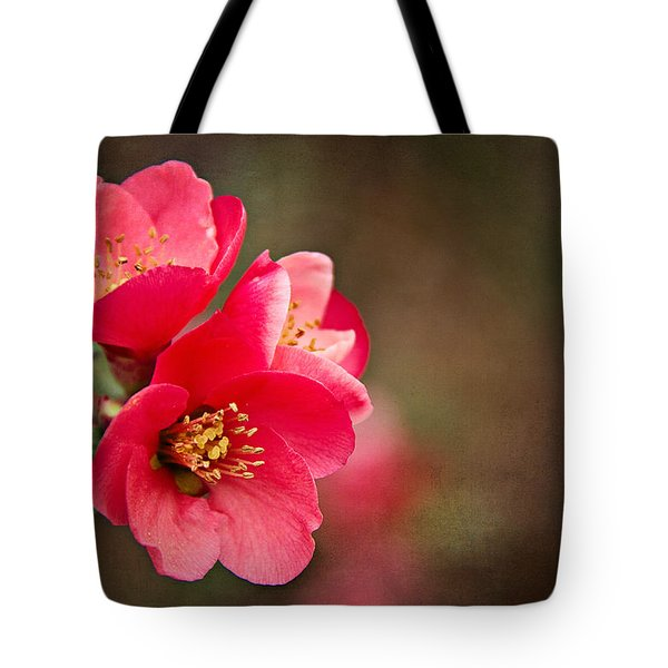 Tote Bag featuring the digital art Flowering Quince by Lana Trussell