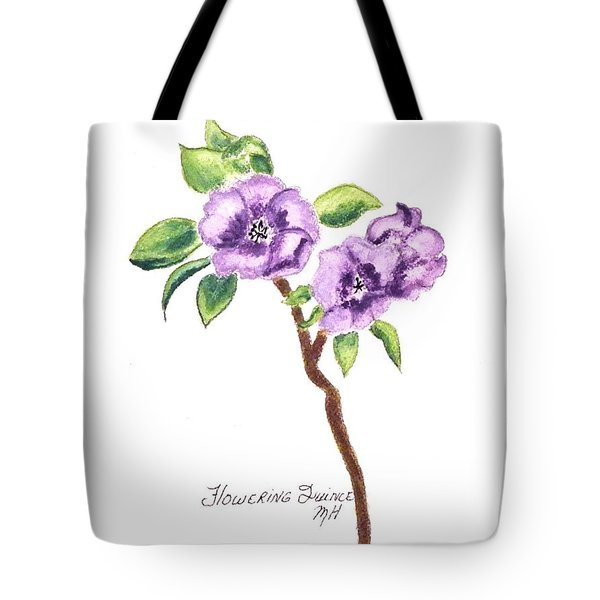 Flowering Quince Tote Bag by Marsha Heiken