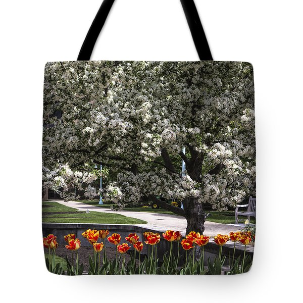 Flowers And Bench At Michigan State University  Tote Bag by John McGraw