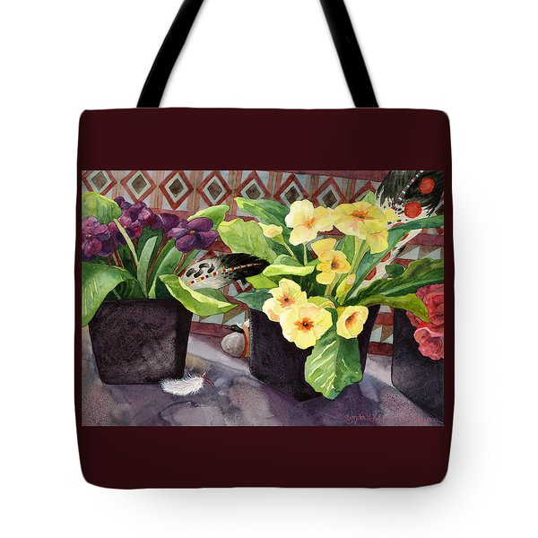 Flowers And Eagle Feathers Tote Bag
