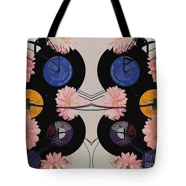 Flowers And Phonographs Tote Bag