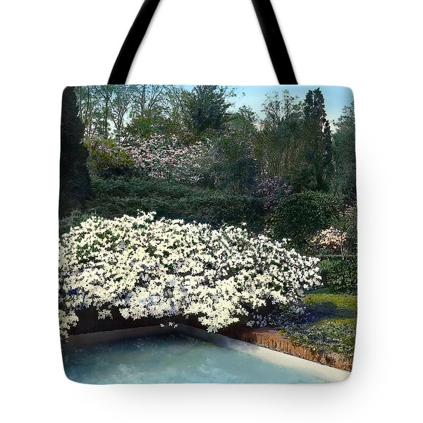 Flowers And Pool Tote Bag by Terry Reynoldson