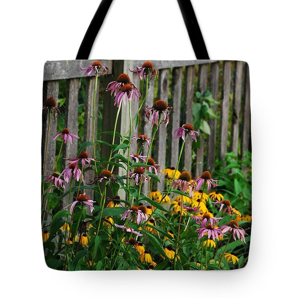 Flowers And Rustic Fence Tote Bag by Janice Adomeit