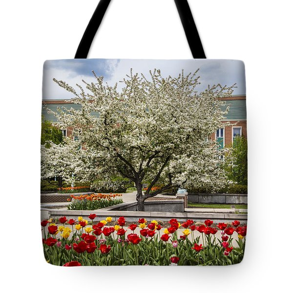 Flowers And Tree At Michigan State University  Tote Bag by John McGraw
