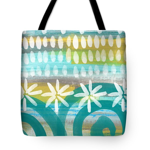 Flowers And Waves- Abstract Pattern Painting Tote Bag