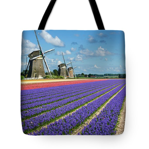 Landscape In Spring With Flowers And Windmills In Holland Tote Bag