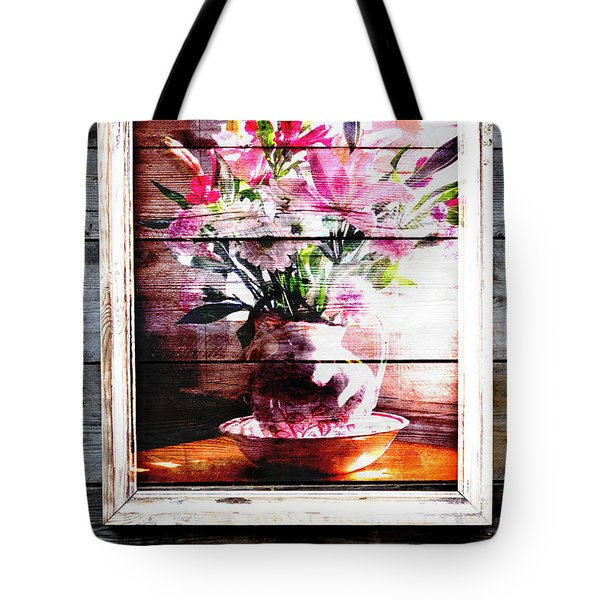 Flowers And Wood Tote Bag