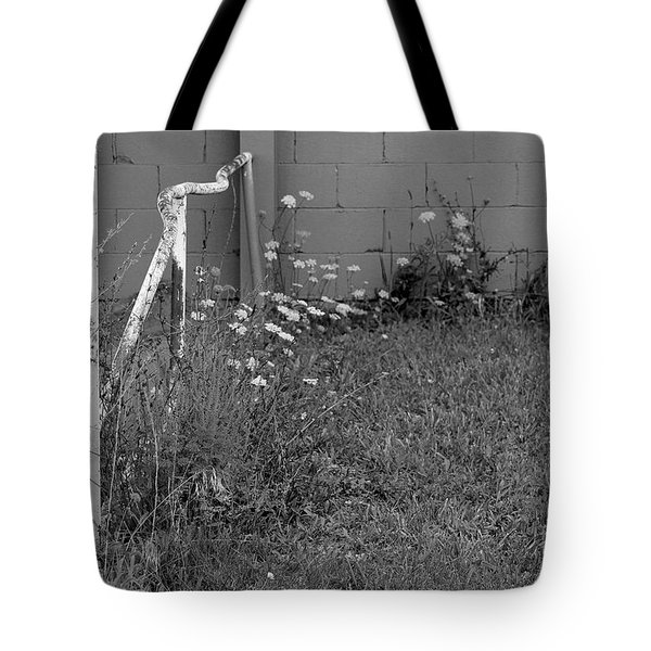 Flowers At Old Warehouse Black And White Tote Bag