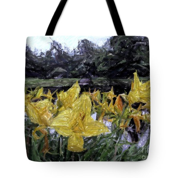 Flowers By The Pond Tote Bag