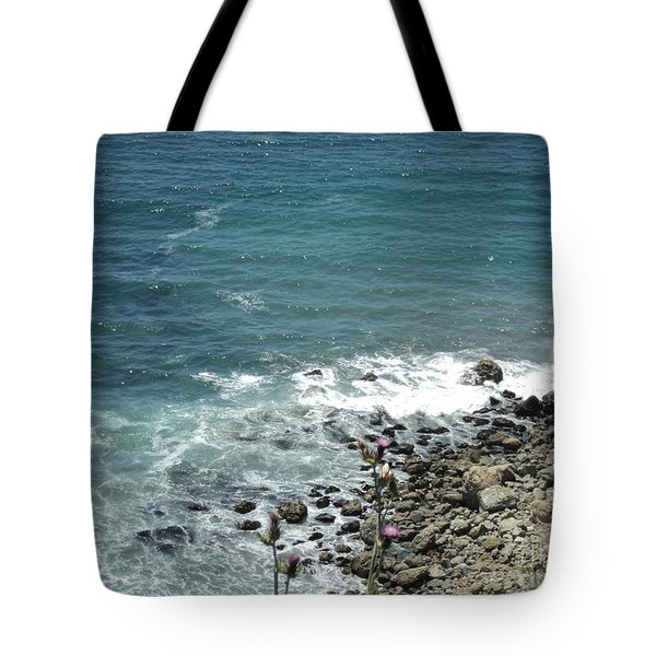 Tote Bag featuring the photograph Flowers By The Seashore by Carla Carson