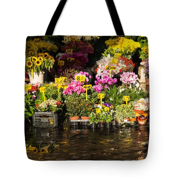 Flowers For Sale At Campo De Fiori - My Favourite Market In Rome Italy Tote Bag
